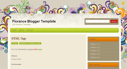 Florance Huge Compilation of Best Blogger Templates Released in 2010 | Blogspot Toolbox
