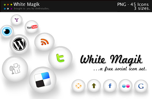 white+magik+free+social+icon+set Social Network Icons Reloaded