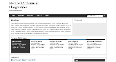 Modified+Arthemia Visually Impressive and Smashing Blogger Templates