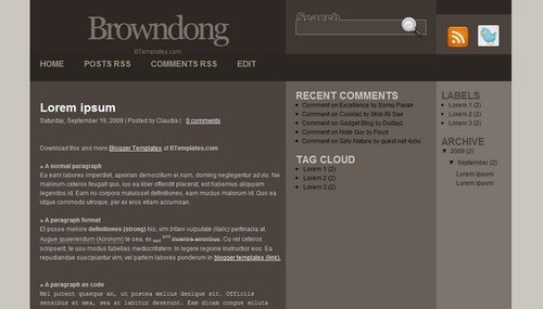 Browndong 40+ New and Fresh Blogger Templates