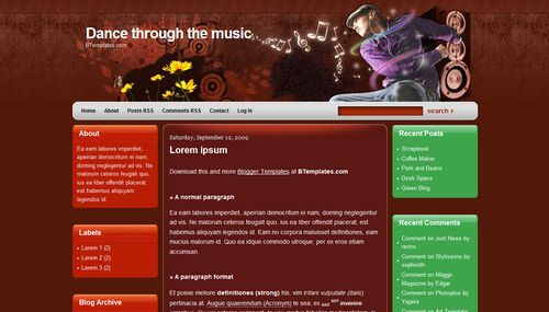 dance through the music 40+ New and Fresh Blogger Templates