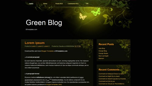 Green Blog 40+ New and Fresh Blogger Templates