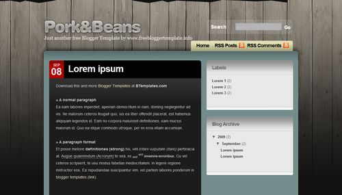Pork and beans 40+ New and Fresh Blogger Templates