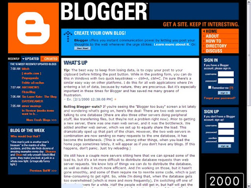 2000 Blogger Platform Over the Years (Pictures) (1999   2009)