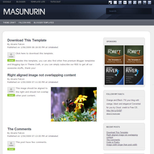 masunurin blogger template large Mindblowing Premium Like Free Blogger Templates