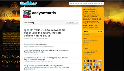 andysowards Inspiration Reloaded!   44 Best Twitter Background Themes