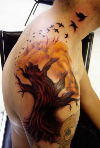 tree tattoo with birds by hatefulss Incredible Tattoo Designs and Body Art to Inspire You