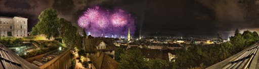 Firework Panorama   Zurich by balduris Stunning Horizontal Panoramic Shots | Photography Inspiration
