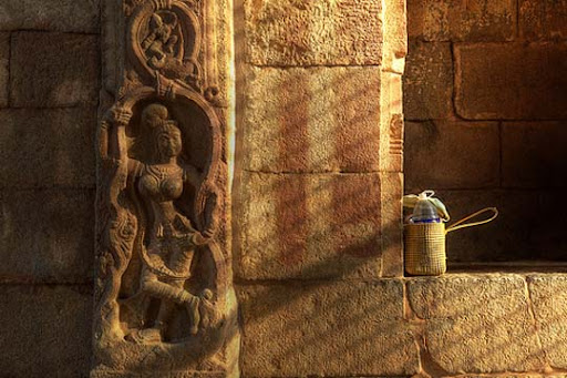 Carving+and+worker%27s+bag,+Hampi,+Karnataka The Incredible India: 90 Spectacular Photos