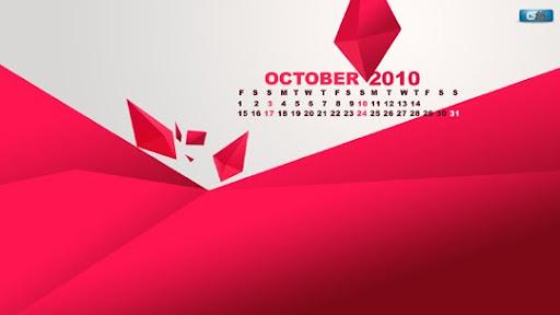 October 10 next dimension calendar Desktop Wallpaper Calendar October 2010