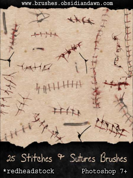 GIMP Stitches and Sutures by Project GimpBC 1500+ Free GIMP Brushes Packs for Download