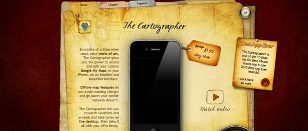 The+Cartographer Best Examples of iPhone Apps Websites Designs