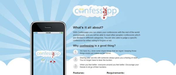 Confessapp Best Examples of iPhone Apps Websites Designs