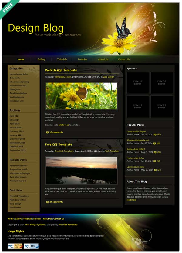 Butterfly+design+blog 80+ Free Editable PSD Website Templates