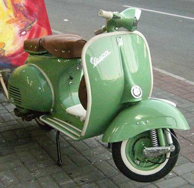 Green Vespa Classic Bike