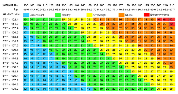 body mass index chart female