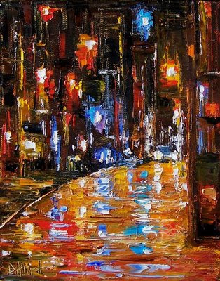 Night+cityscape+painting. Labels: abstract cityscape, night city art,