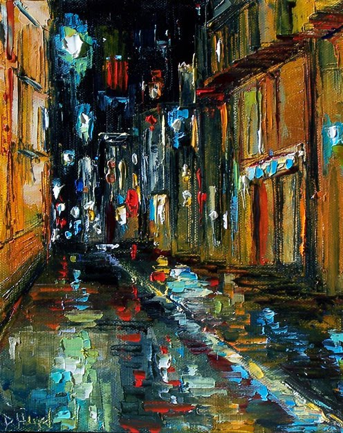 Street Scene cityscape rainy night painting by Debra Hurd. Title: Jazz Alley