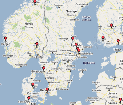 Mapping BioStar users onto the world map