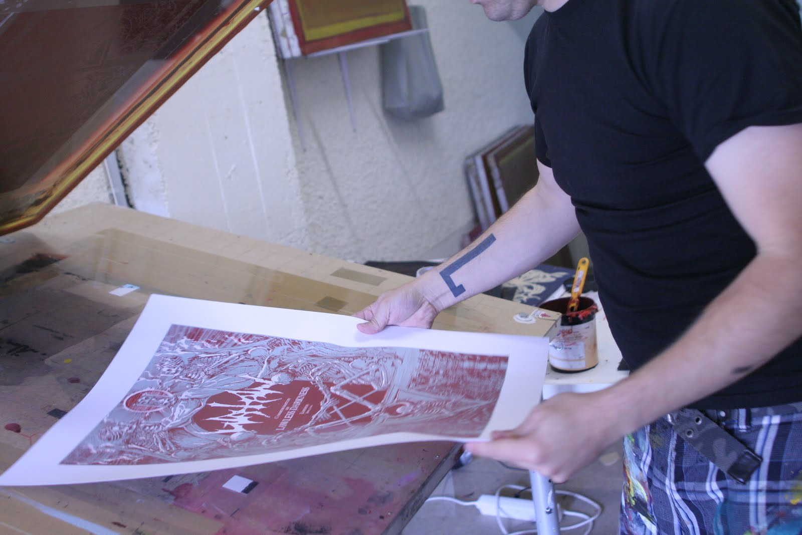 Watain blood screen print