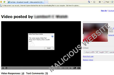 Fake YouTube Website that Facebook Invitations will direct unsusespected users; Credit: Trend Micro