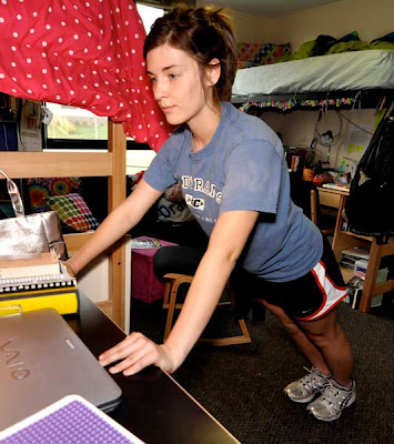 dorm room fitness, photo by Sarah Andrews