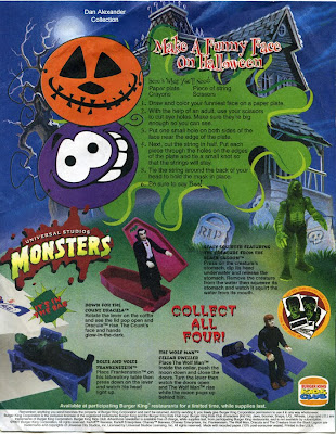 1997 burger king kids club universal monsters toy figure flyer