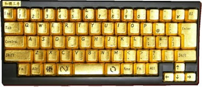 Keyboard With Pure Gold Keys