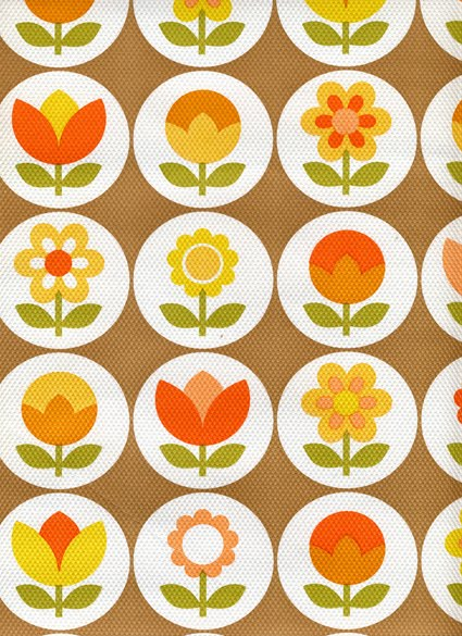 Retro plants vintage wallpaper - Papier peint vintage 70 ...