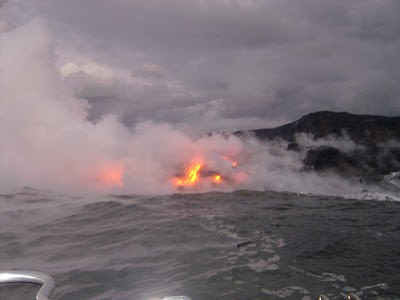 Visiting Kilauea Volcano by boat in Hawaii