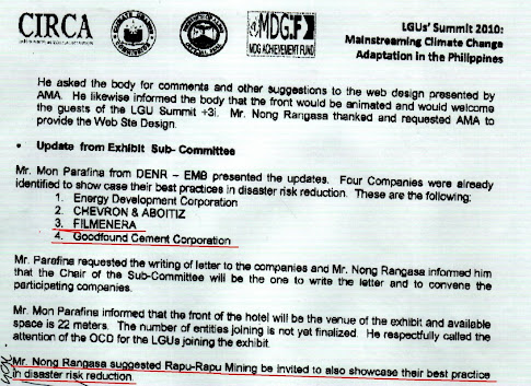 Evidence that Nong Rangasa suggested to invite mining companies to his LGU Summit + 3i exhibit