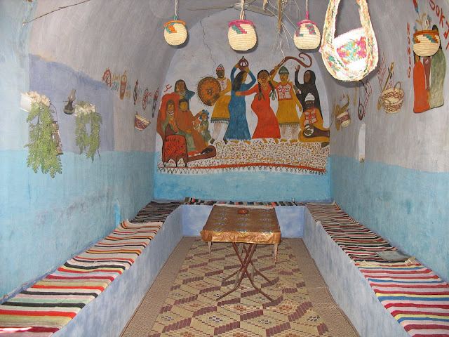 a Nubian village hut with wall paintings