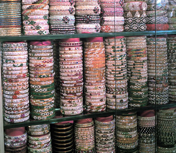 display of decorative bangles