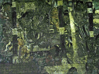 Close-up Ajanta wall painting