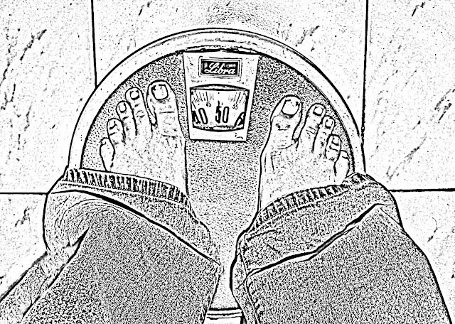 sketch of person weighing herself