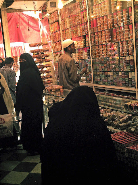 burkha clad women buying bangles