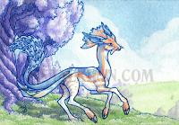 bloohound-omega, leaper, Ileyeah, art, watercolor, aceo, atc, fantasy landscape, trees