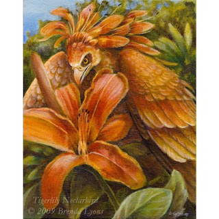 windfalcon, art, watercolor, bird, fantasy, flower, painting, tigerlily