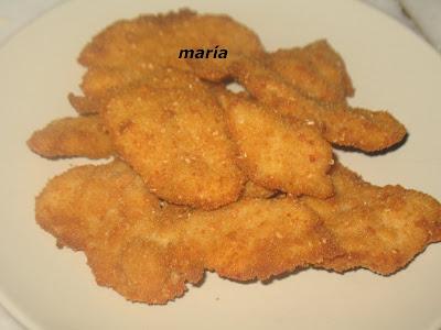 Lagrimitas de pollo empanadas con cacahuetes y queso