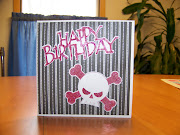 Pink and Black Skull and Crossbones Glittery Birthday Card