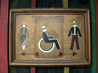 Restroom signage where figures are wearing sombreros and other Mexican dress.