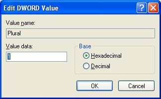 Edit Plural DWORD value and set it to 1