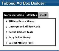 ClickBank's Hop Tabbed Ad Box Builder