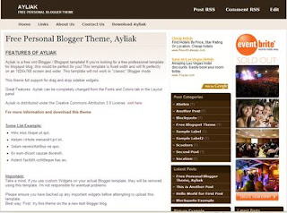 Ayliak - The Beautiful New Free Blogger Template