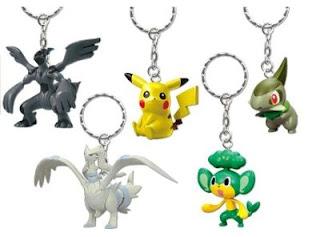 Pokemon BW Figure Key Chain 2 Pikachu Kibago Yanappu Reshiram Zekrom Banpresto