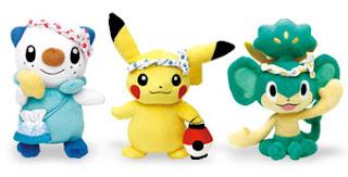 Pokemon Plush Fukuoka Limited PokeCenJP Pikachu Oshawott Pansage