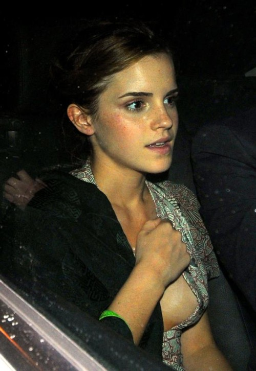 589d1 emma watson side boob ... run about having sex with dead people was certainly an attention getter.