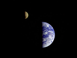 1992 Galileo Orbiter image of Earth and Moon