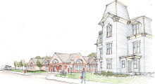 artists rendition of new library and re-located Colburn