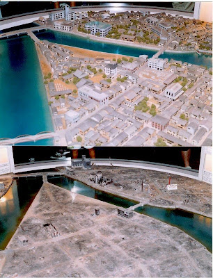They depict Hiroshima before and after the bombing.